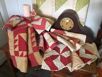 Antique 1800's Vintage Old Star Turkey Red Patchwork Lot of 6 Quilt Pieces