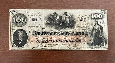 $100 CSA 1862 Confederate States Obsolete Currency One Hundred Dollars