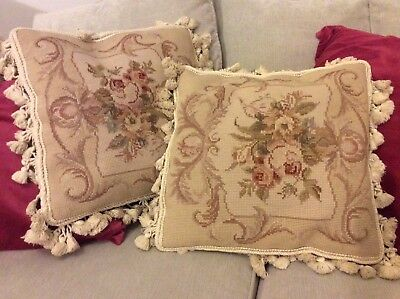 Gorgeous French Tasselled Aubusson Cushions - PAIR , FREEPOST