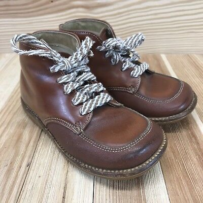 1ead4fd19c0d8 VINTAGE BUSTER BROWN Toddler Boys Shoes Size 6.5 Brown Leather Booties Laces