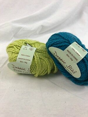 2 SKEINS - DEBBIE BLISS - PURE COTTON - Color #39017 And 39019, Lime, Turquoise