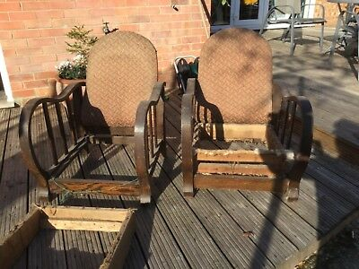 Pair of 1930s lounge chairs oak for reupholstery