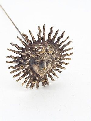Antique Cast White Metal Sunburst Face Art Nouveau Large Hat Pin