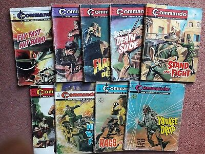 Commando comics old ONE SHILLING collection. Dated 1969. Issue numbers 408-520.