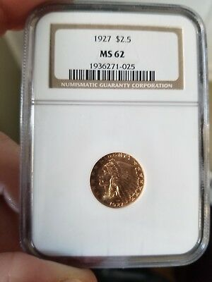 1927 $2.5 Gold Indian Head Quarter Eagle MS 62 NO RESERVE
