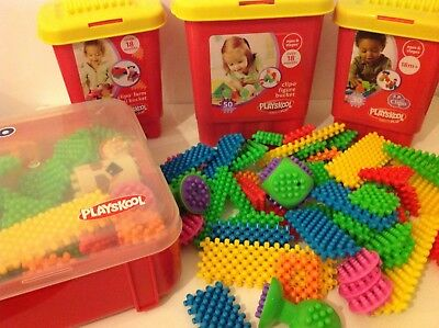 Playskool Clipo Brightly Coloured Clip Together Chunky Building Shapes / Bricks