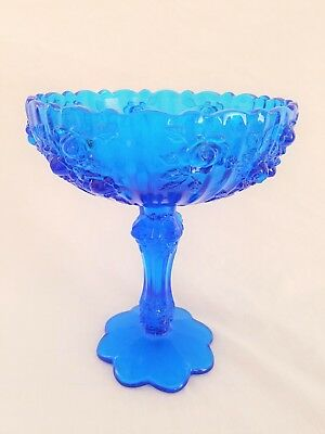 Fenton Colonial Blue Cabbage Rose Glass Compote Candy Dish