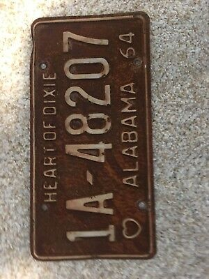 Vintage Original 1964 Alabama License Plate Tag Rare Antique Used 1A-48207 Rusty