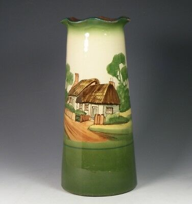 Large Torquay Art Pottery Vase With Thatched Cottage - Unmarked Watcombe?