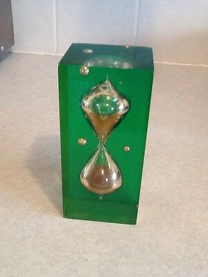 Lucite Paperweight,glass Sand Timer Enclosed