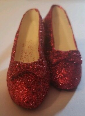 Miniature Ruby Red Glitter Sparkling Slippers on a Ribbon, Ornament