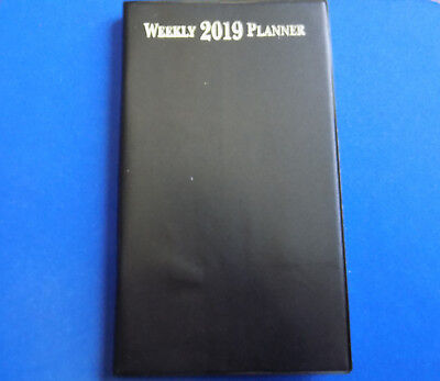 2019 Solid Black Weekly Pocket Planner Calendar - Free Shipping!