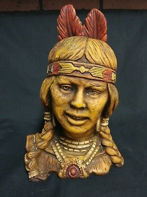 Vintage RARE Feathered Native American Indian Head Ceramic Statue Sale Reduced