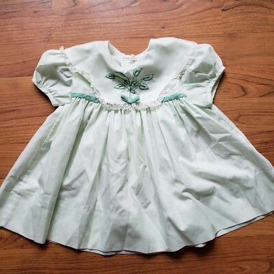 Vintage Mint Colored Lace Detail Dress Girl Toddler's Size 2T