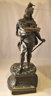 Large Antique Victorian Spelter Metal Statue of Knight