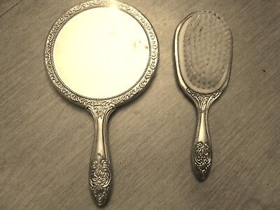 Antique Vintage Ornate Silver-Plated VICTORIAN Lady's Hand Held Mirror & Brush