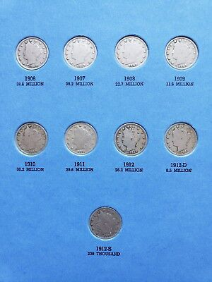 1883-1912 Liberty Head V Nickel Album Set - 25 coins with 1912 S