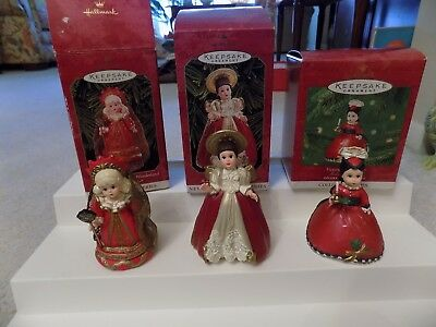Hallmark Christmas Ornaments Madame ALexander Group of 3, Excellent Condition