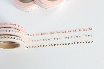 Faith collection skinny washi tape, Rose Gold Washi Tape, Bible Journalling,