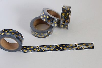 Gold foil hearts on dark blackish blue, Cute Washi Tape, Planner accessories