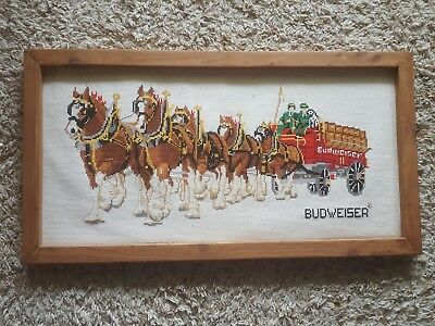Vintage Budweiser Clydesdale Cross Stitch Sign