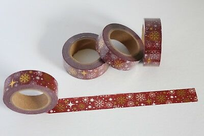 Maroon washi tape with gold snowflake accents, Cute washi, Planner accessories