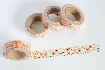 Orange floral vines washi tape, Floral washi, Cute washi, Planner accessories