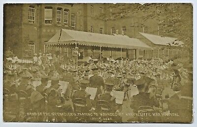 1915 Ww1 Rp Postcard Grenadiers Band Playing To Wounded Wharncliffe Hospital S98