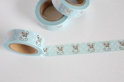 Pastel blue and white polka dots washi tape with rose gold foil bunnies