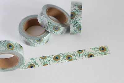 Peacock feathers washi tape, cute washi tape, planner accessories