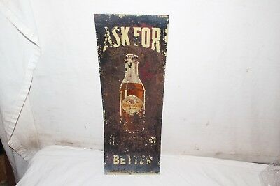 "Vintage 1920's Queen-Cola Soda Pop Bottle Gas Oil 20"" Metal Sign"