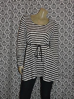 Oh Baby Maternity Black White Striped Knit Blouse Top Shirt Womens MEDIUM NEW