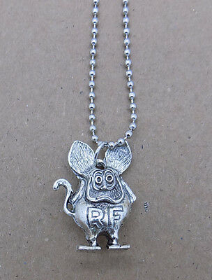 RAT FINK pewter charm necklace ED BIG DADDY ROTH figure pendant