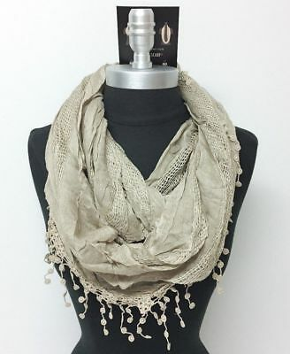 Women's Solid basket-weave Infinity Crochet Scarf 2-Circle Wrap Soft Taupe#u4i