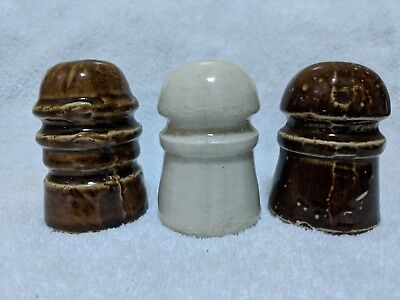 Three old and crude Pittsburgh Porcelain Insulators