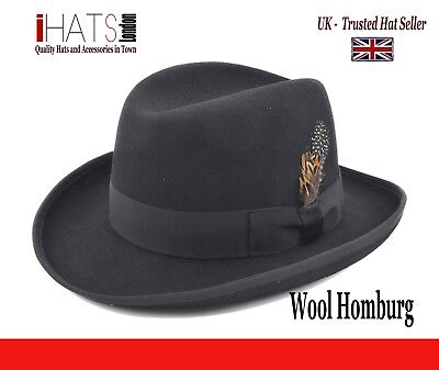 567f103ed02 iHatsLondon Homburg Hat Supreme Quality Felt Winston Churchill Classic Hat  - UK