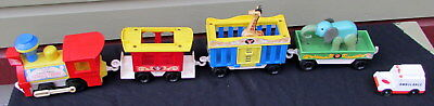 Vintage 1973 Fisher Price Little People Circus Train 991 With Two Animals
