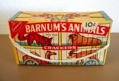 Vtg Empty 1960's Nabisco BARNUM'S ANIMAL CRACKERS Cage Advertising BOX 10 cents