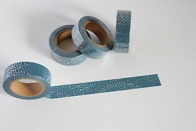 Silver foil snowflakes on dark blue washi, cute washi tape,planner accessories