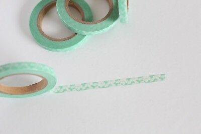 Skinny pastel green and white floral washi, cute washi tape,planner accessories