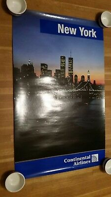 Original Vintage Continental Airlines New York City Poster Pre 9/11 Twin Towers