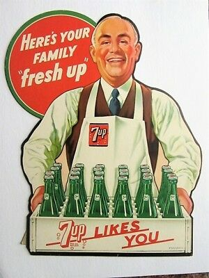 Vintage 1948 7-Up Cardboard Counter Top Advertising Sign Nice Condition