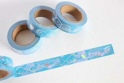 Sky blue with holographic foil wings washi, cute washi tape,planner accessories