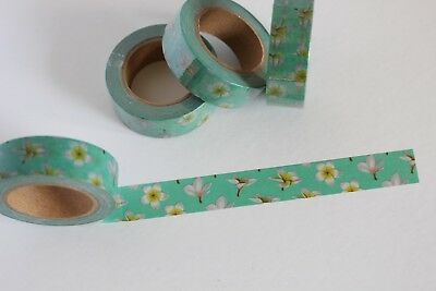 Tropical frangipani print washi tape, floral washi tape, planner accessories