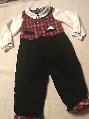 Carriage Boutique Boys Christmas Outfit Size 24 Months Red Plaid Velvet Flannel