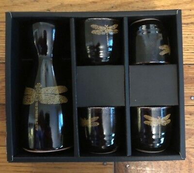 sake set black & gold dragonfly pattern