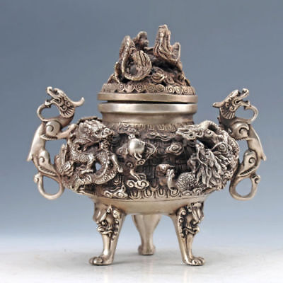 Chinese old copper plating silver HANDMADE DRAGON INCENSE BURNER e02