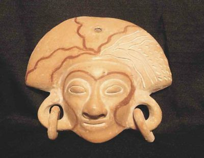 Large VTG Terra Cotta Aztec Mexican CLAY FOLK ART Pottery MASK Mayan #1