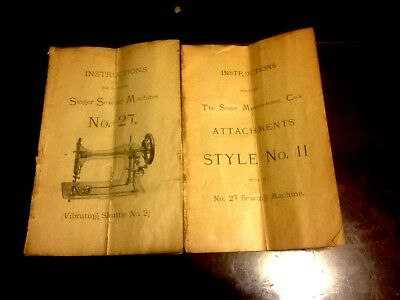 Manual for Singer Sewing Machine No. 27 # ATTACHMENT INSTRUCTIONS BOOKLET