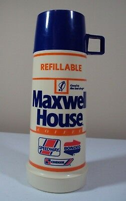 Vintage Maxwell House Coffee 2 Cup SPEEDWAY BONDED CHECKER Thermos